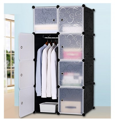 Cabinet 8 Cubes Black Stripes DIY Wardrobe Black Stripes (FOC: 1 hanger)