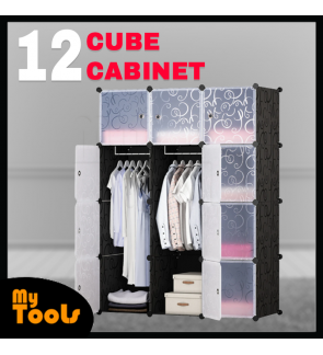 Cabinet 12 Cube Cubes Black Stripes DIY Wardrobe Black Stripes (FOC: 2 Hangers)