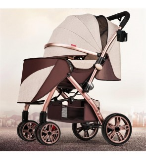 Super Luxury Baby Stroller 3 In 1 High Landscape Prams with Sleeping Basket Suspension Rubber Wheels