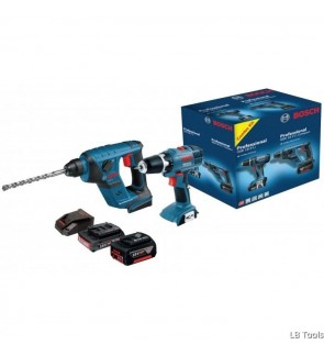 Bosch Cordless Rotary Hammer GBH18V-LI Compact + Cordless Drill Driver GSR18-2-LI Combo Kit 0615