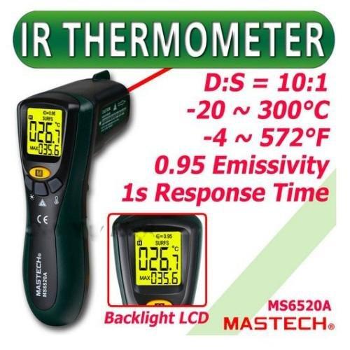Mastech MS6520A Non-contact Digital Infrared Laser IR Thermometer (Max Temp. 300 deg)