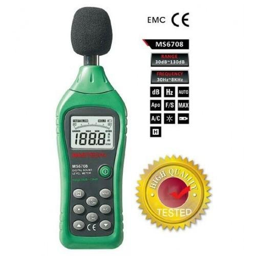 Mastech MS6708 Handheld Industrial Digital Sound Level Meter Decibel Tester 30~130dB Analog Bar Disp