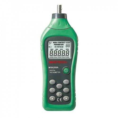 Mastech MS6208A Contact-type Digital Tachometer with Backlit and Rotation Speed of 50-19999RPM