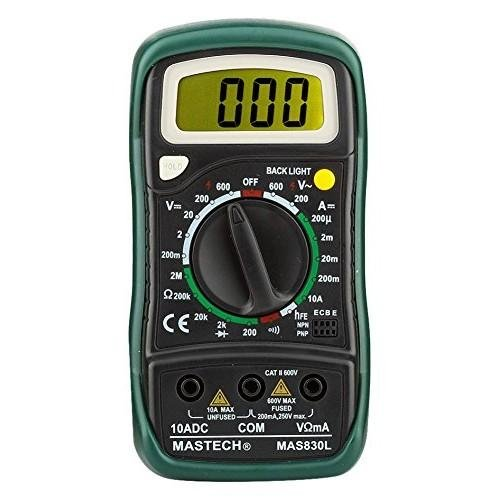 Mastech MAS830L Digital Multimeter Pocket Palm Size (Date / Hold / AC / DC / Voltage / Current / Bac
