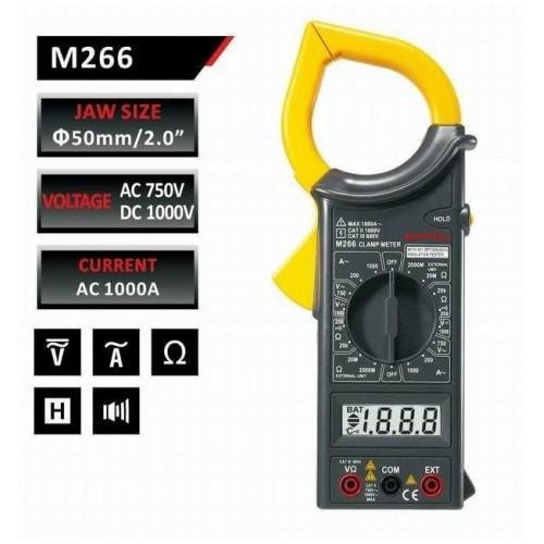 Mastech M266 AC Digital Clamp Meter with Temperature (Date / Hold / AC / DC / Voltage / Current / Re