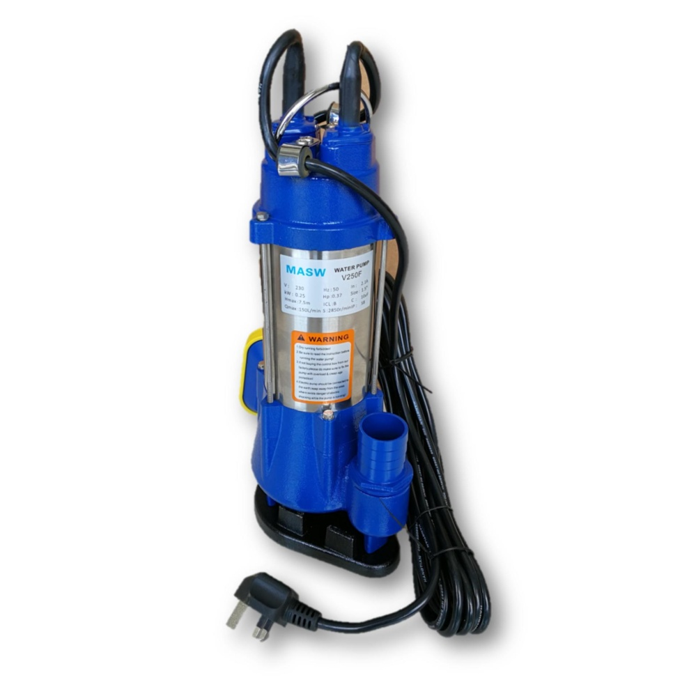 "MASW V250F 250W Auto 1 1/2"" - 1 1/4"" - 1"" Stainless Steel Submersible Pump"
