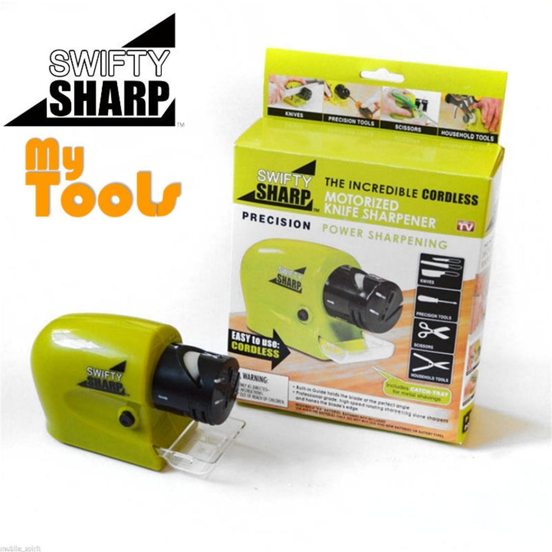 Swifty Sharp Tool & Knife Sharpener Cordless Motorized Knife Scissors Blade Easy Sharpening Kit