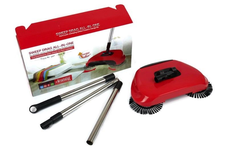 Mytools Sweep Drag All in One Hurricane Spin Broom Inspired Cordless Easy 360 Triple-Brush Cleaning
