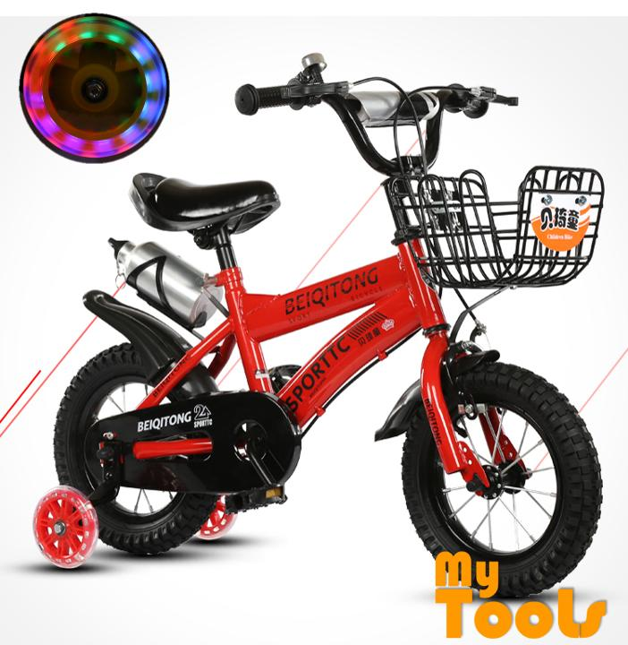 Mytools 12 Inch Wheels Sturdy steel frame BMX Kids Sport Bike Bicycle With Colorful Training Wheels