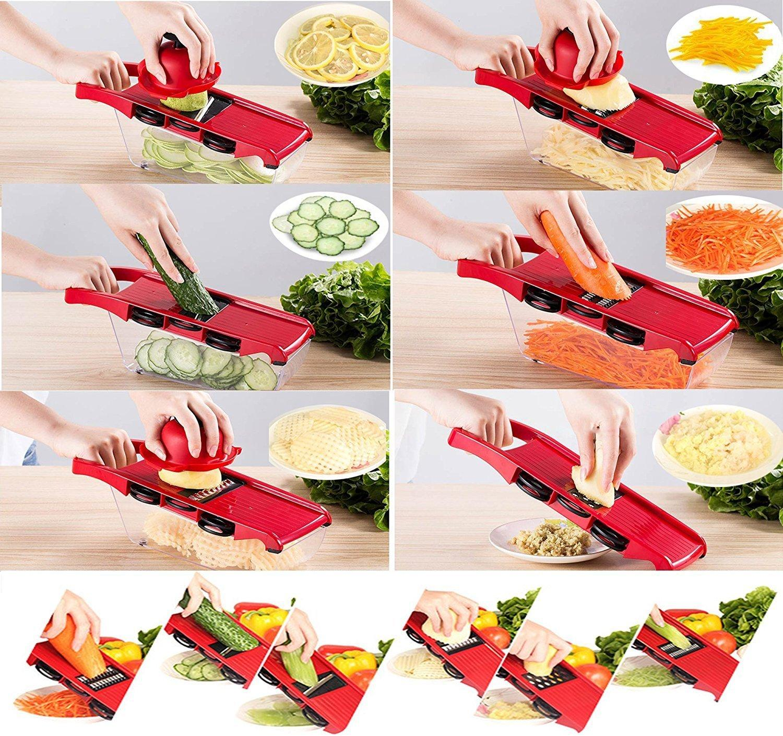 6 In 1 Mandoline Slicer Vegetable Grater, Cutter with Stainless Steel Blades & Storage Box