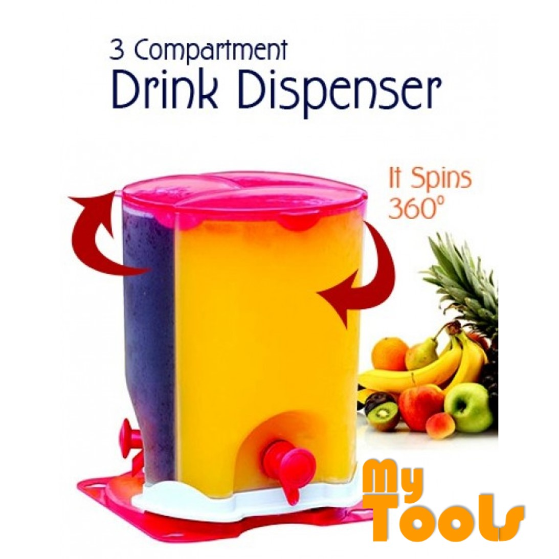 Mytools 3 Compartment Spinning Drink Water Dispenser
