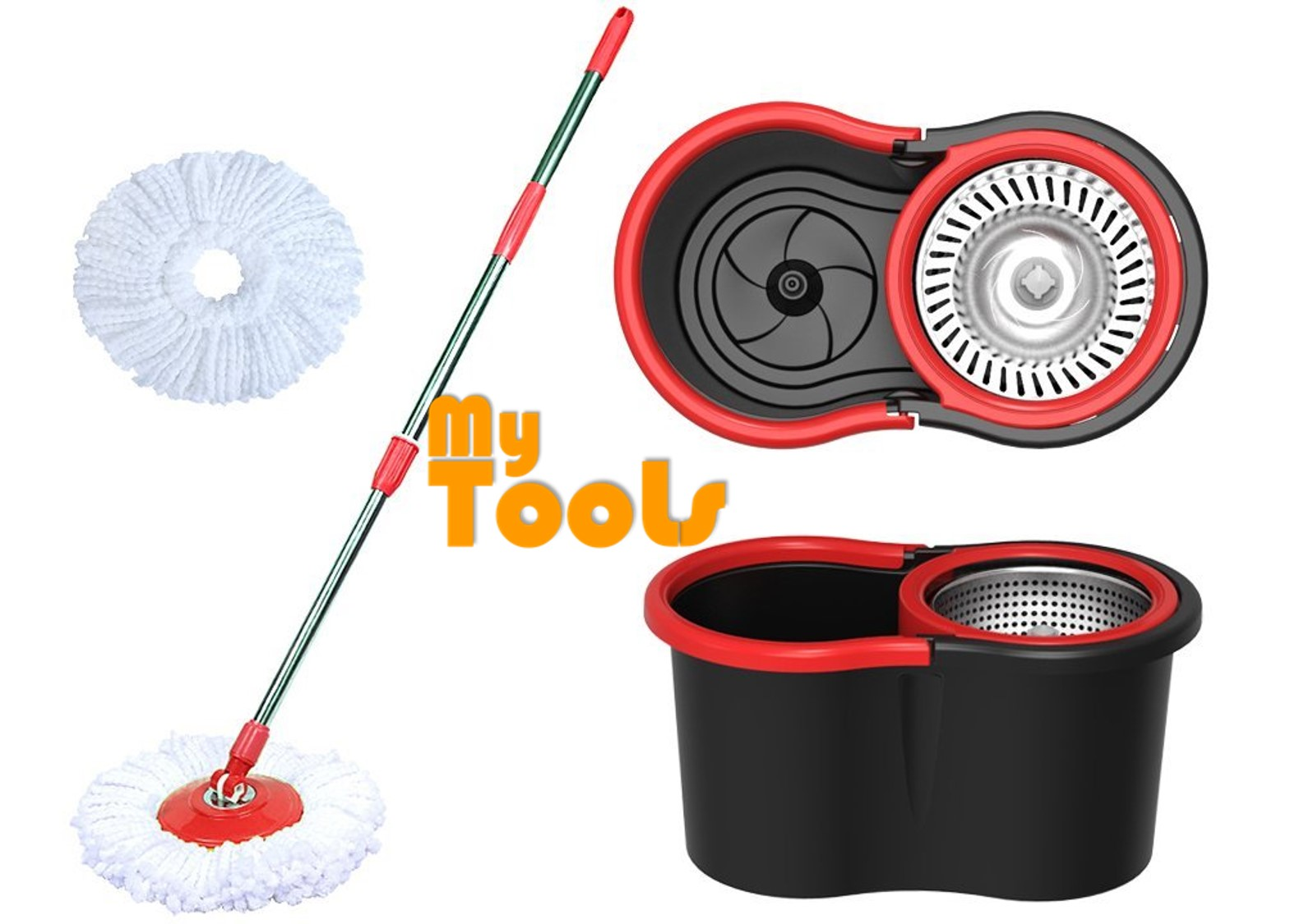 Mytools Super Spin mop Stainless Steel Basket + 2 Mop Heads