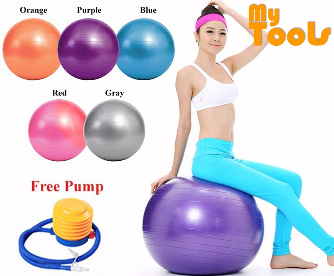 Mytools 75cm Gym Fitness Anti-burst Yoga Exercise Ball FOC Air Pump (Random Color)