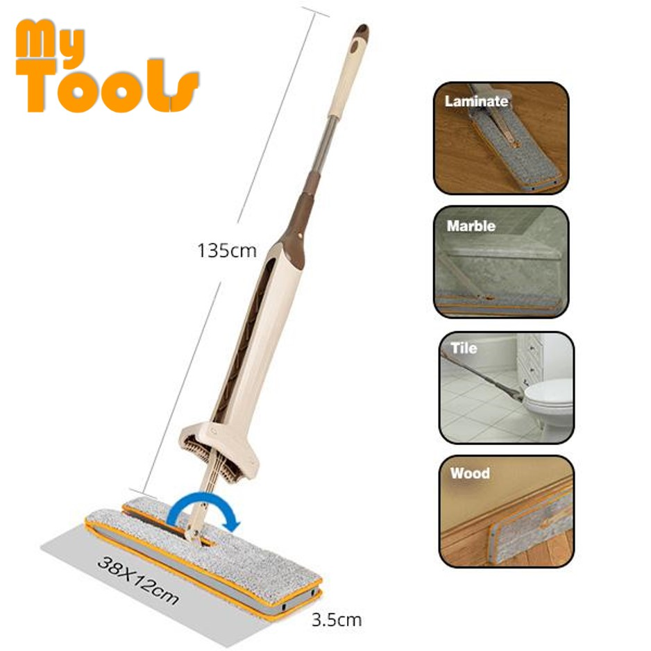 Mytools 38cm Double Sided Hands Free Wash Microfiber Lazy Flat Floor Spin Mop FREE 2pc Extra Absorption Cloth Head