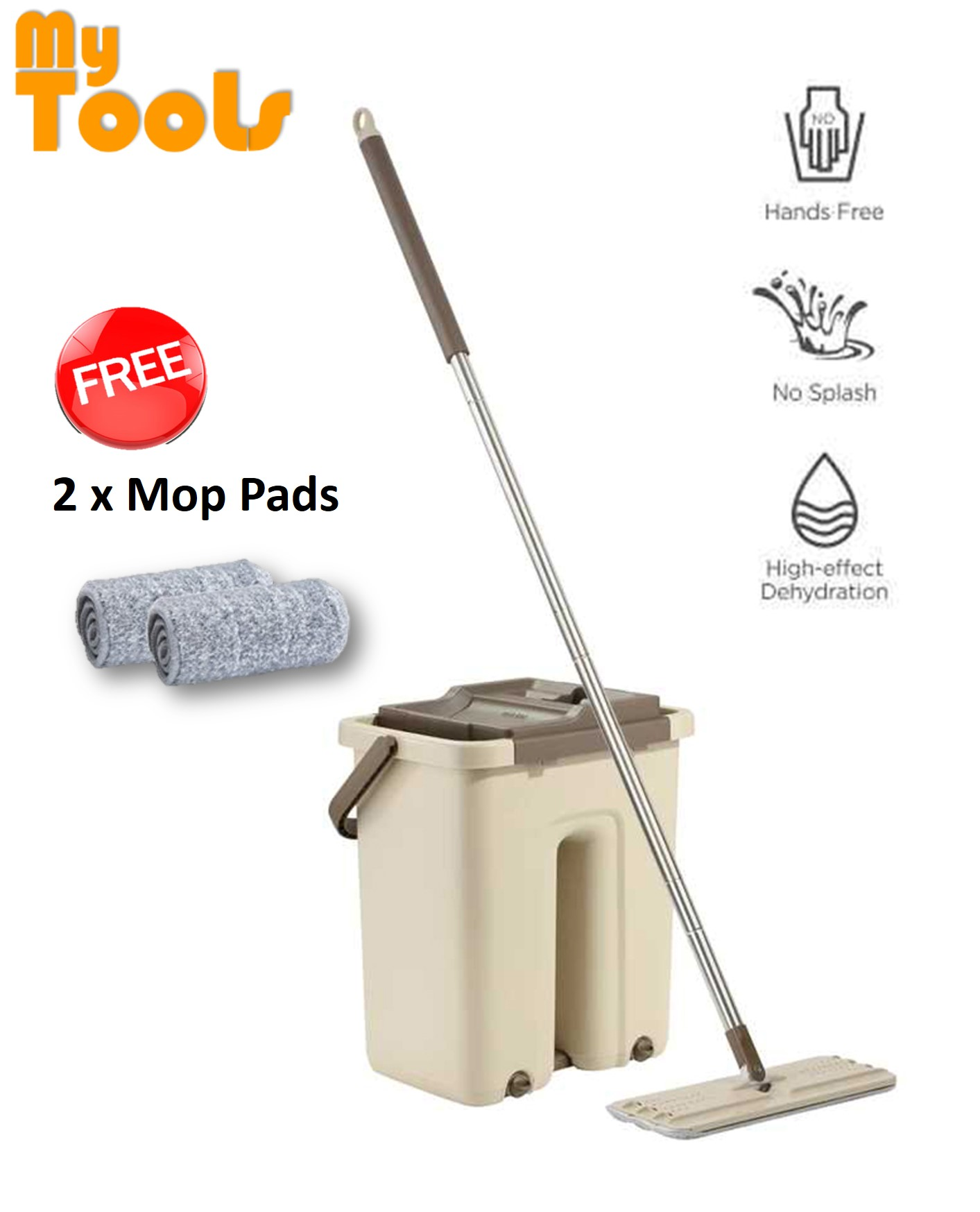 Mytools Easy Clean Scratch Magic Flat Spin Mop -Free 2 Microfiber Cloths