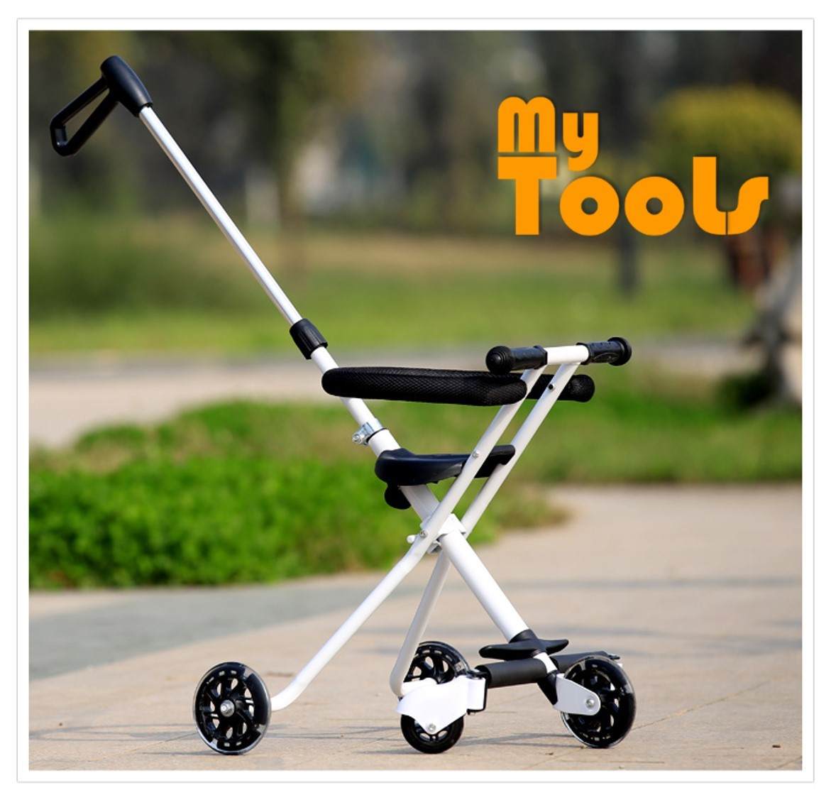 Mytools 5 Wheels Hand Push Portable Ultra Lightweight Upgraded Tricycle Stroller