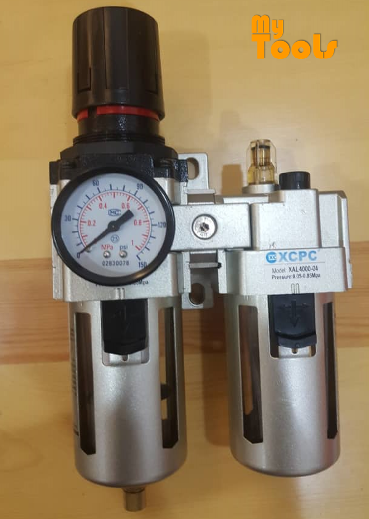 "XCPC XAC4010-04 8BAR 1/2"" AIR REGULATOR FILTER WATER TRAP OILER LUBRICATOR 3 N 1 GAUGE COMPRESSOR PRESSURE"