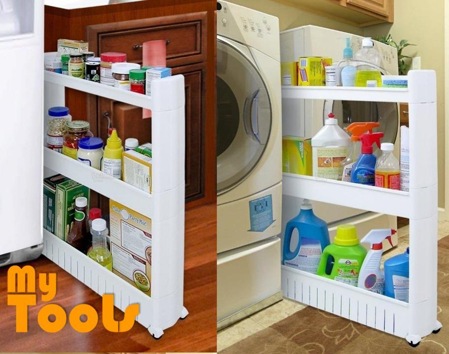 Mytools 3 Tiers Space Saver Slim Slide Storage Kitchen Toilet Bathroom Rack w Wheel