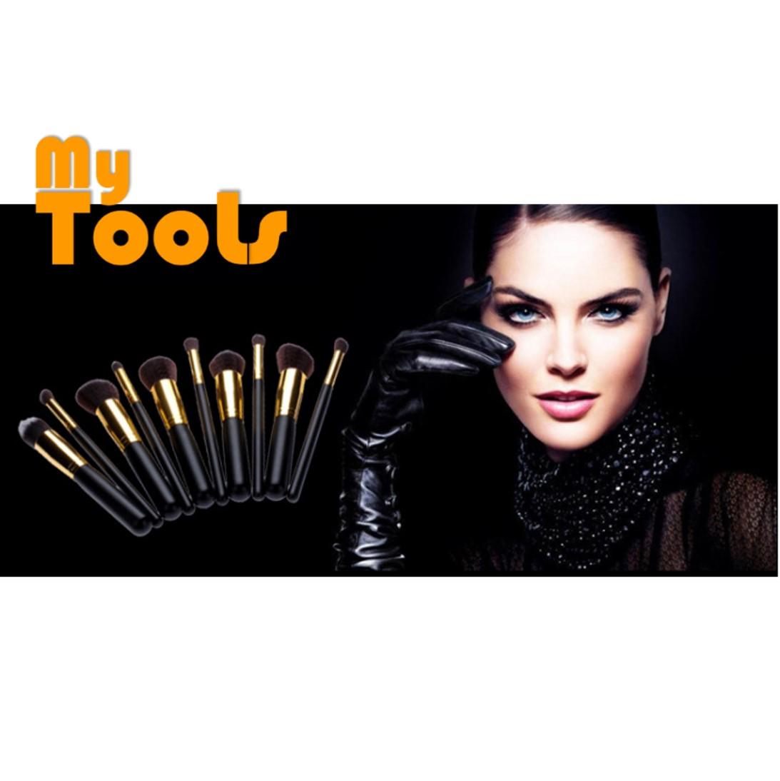 10pcs Make up Brush Kit Black Gold Mekeup Cosmetic Tool