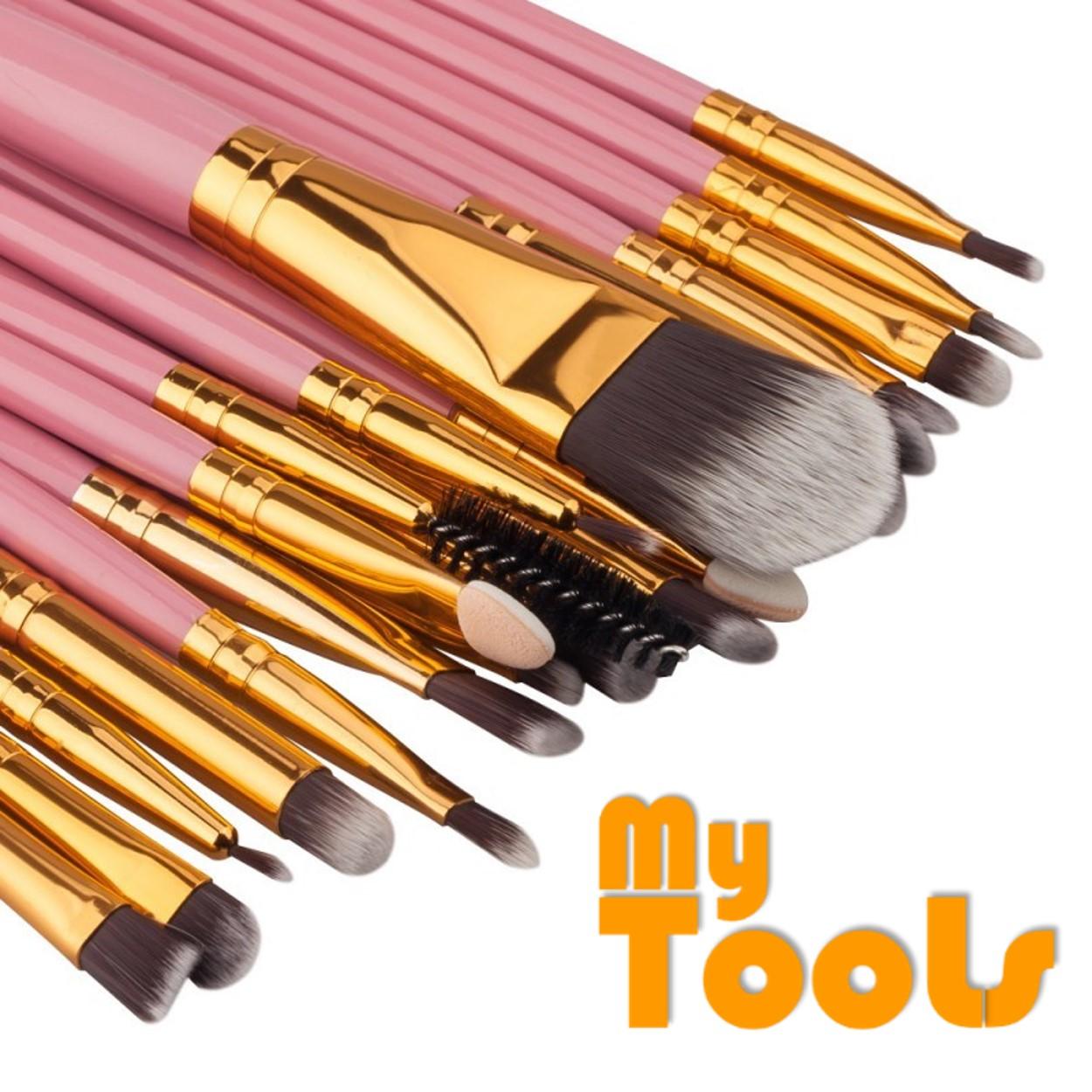 20PCS Make Up Brushes Professional Cosmetic Plastic Handle Basic Eyebrow Eyeshadow Mascara Lip Makeup Brush Set (Pink & Gold)