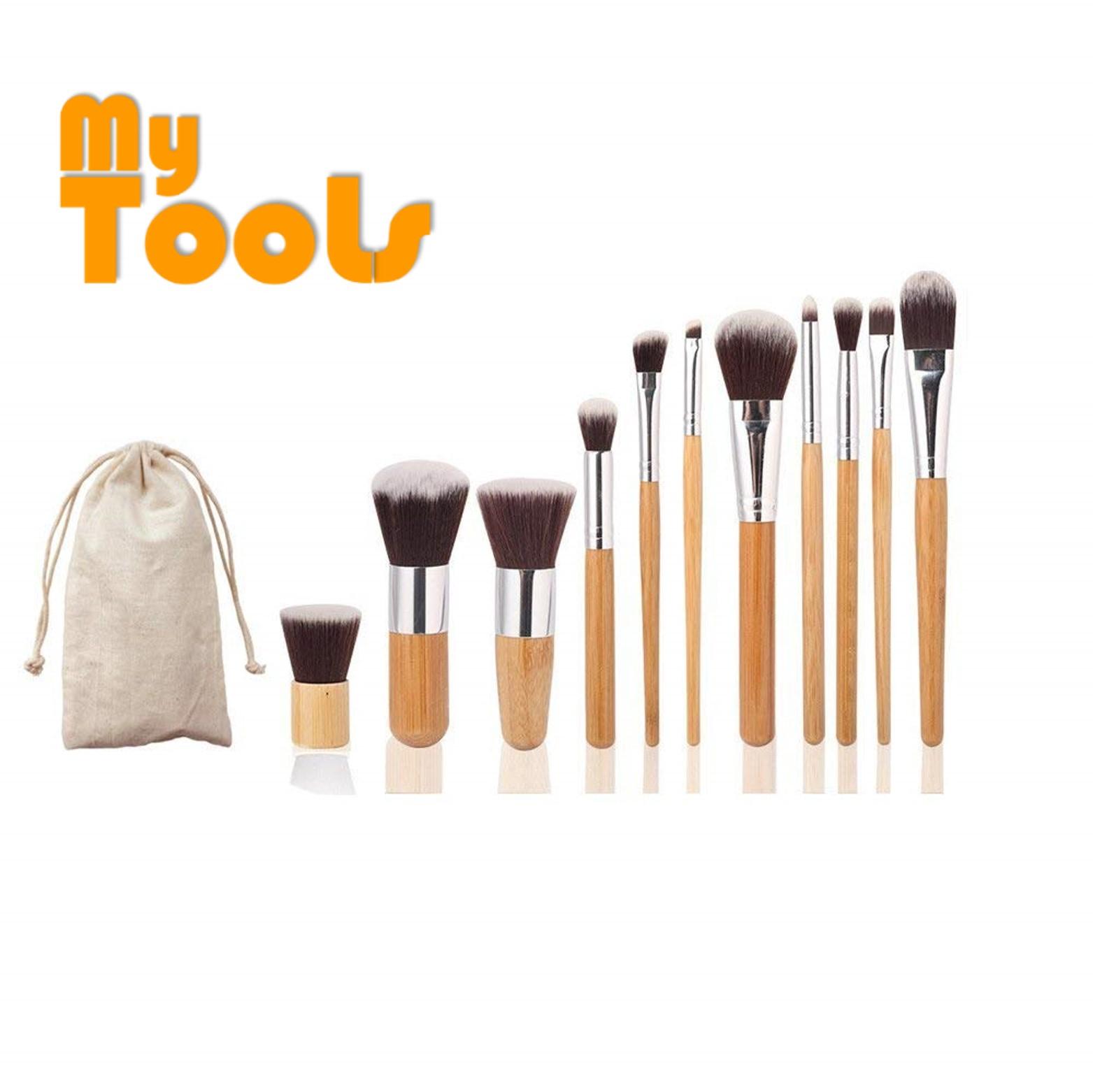 11pcs Bamboo Brush Set + Pro 15 Colors Contour Face Cream Makeup Concealer Palette