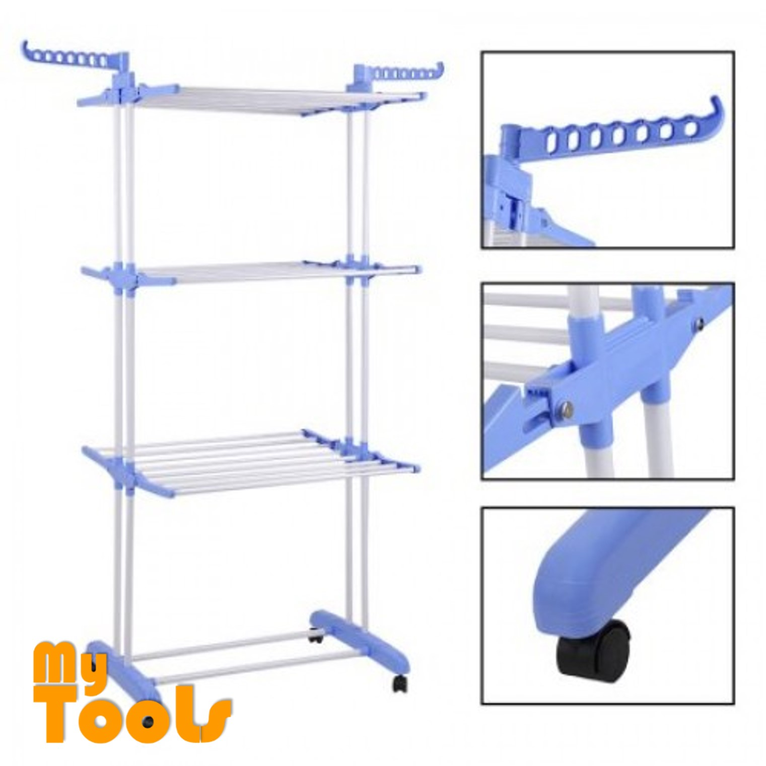 Mytools 3 Layer Foldable Drying Rack Laundry Hanger 3 Tier