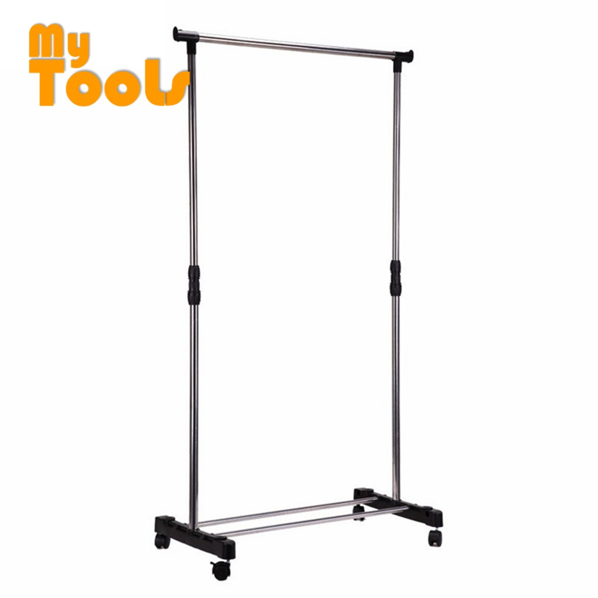 Mytools Single Adjustable Stainless Steel Garment Hanger Clothes Hanger Drying Shoes Rack W Wheels