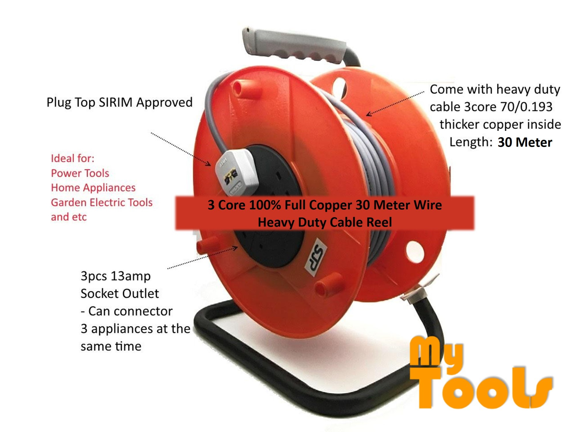 Buatan Malaysia SJP Cable Reel Set c/w 30Meter 3 Core 70 Full Copper Cable Heavy Duty