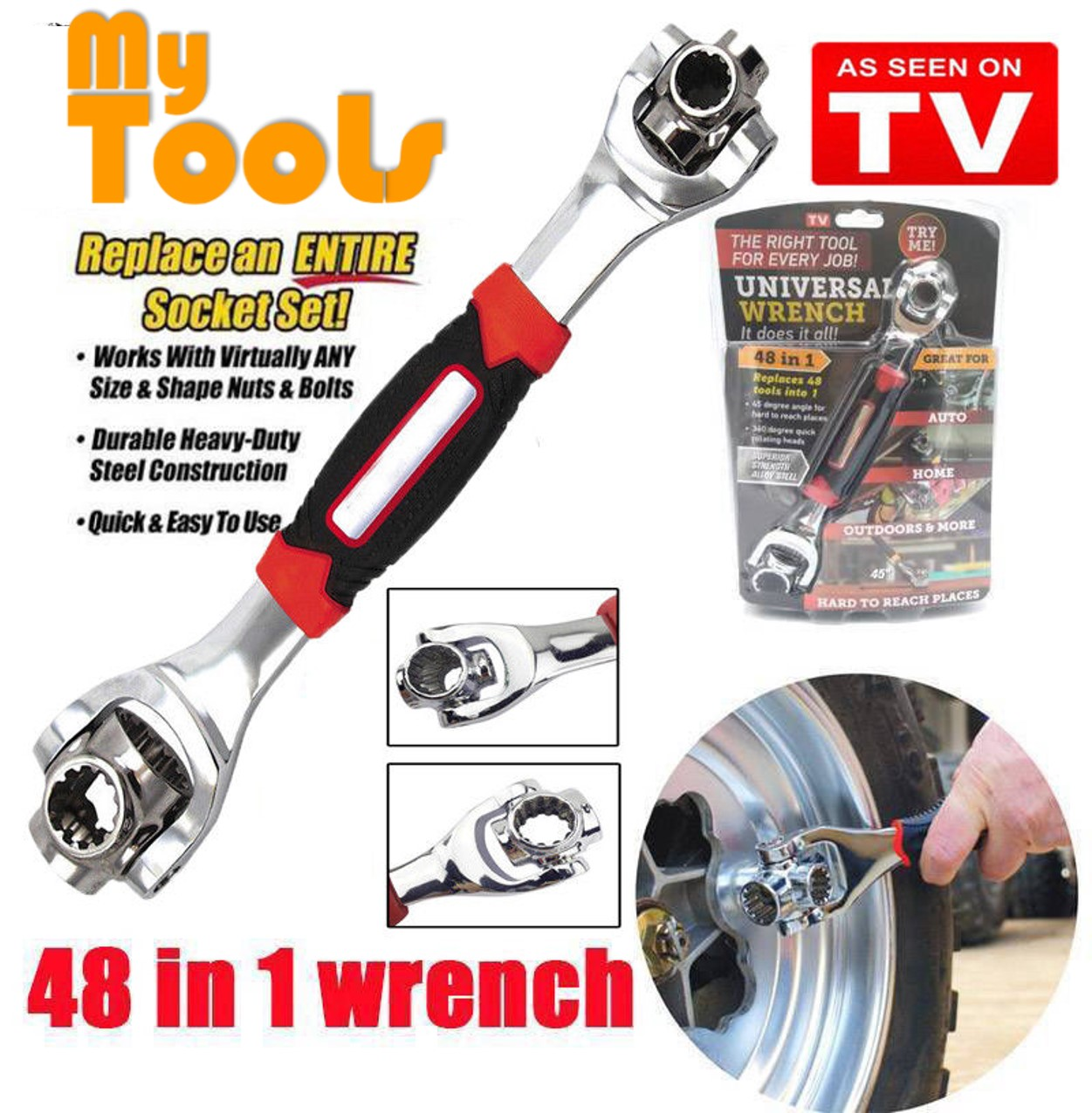 Tiger Wrench 48 in 1 Tools Socket Wrench Spline Bolts Torx 360 Degree 6-Point Universal
