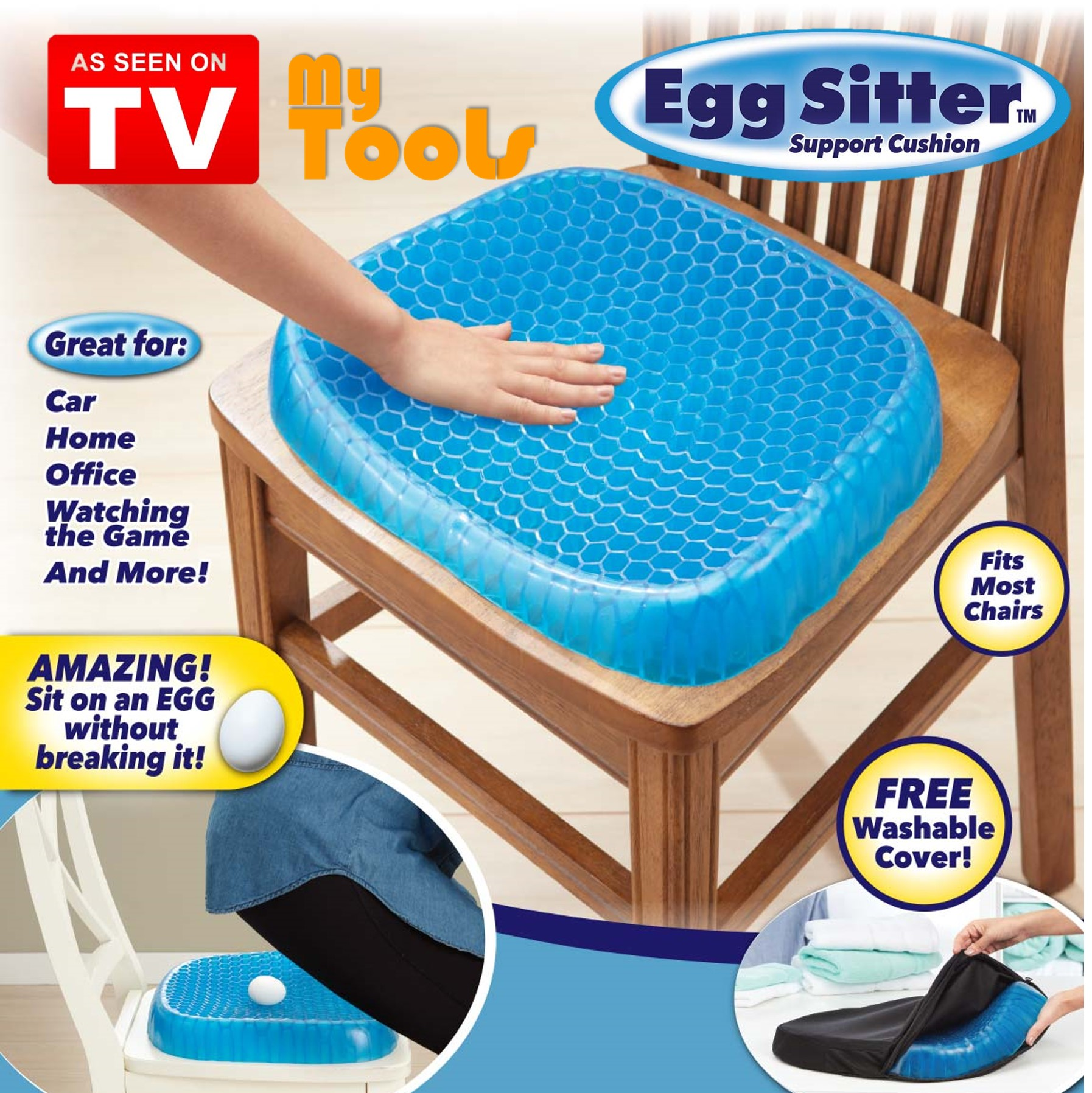 Egg Sitter Blue 3D Cooling Grid Mesh Gel Seat Cushion