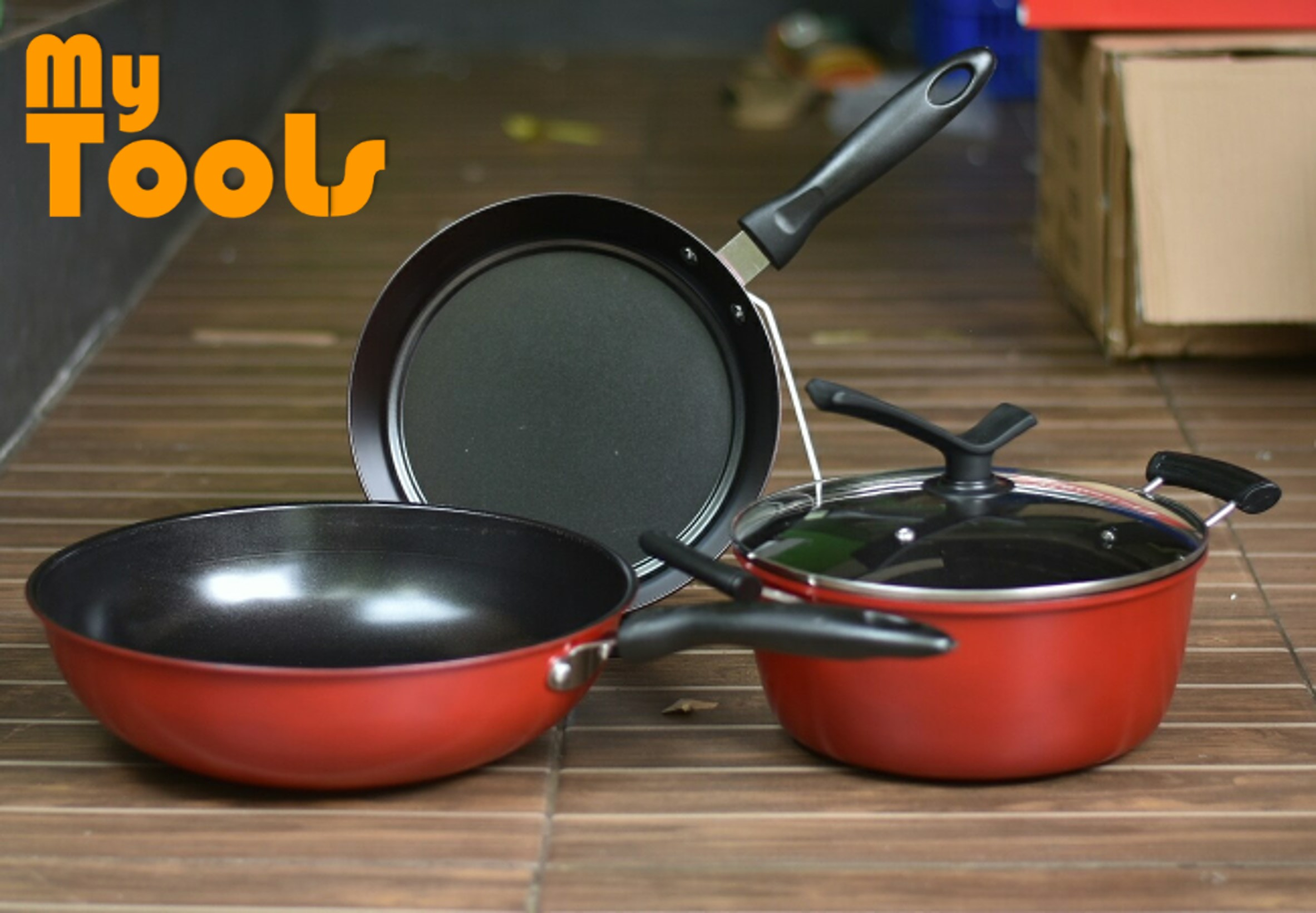 Mytools Monaco Set of 4 Non-Stick Kitchen Cookwares Wok Pan Pot Set with Heat Insulated Handle
