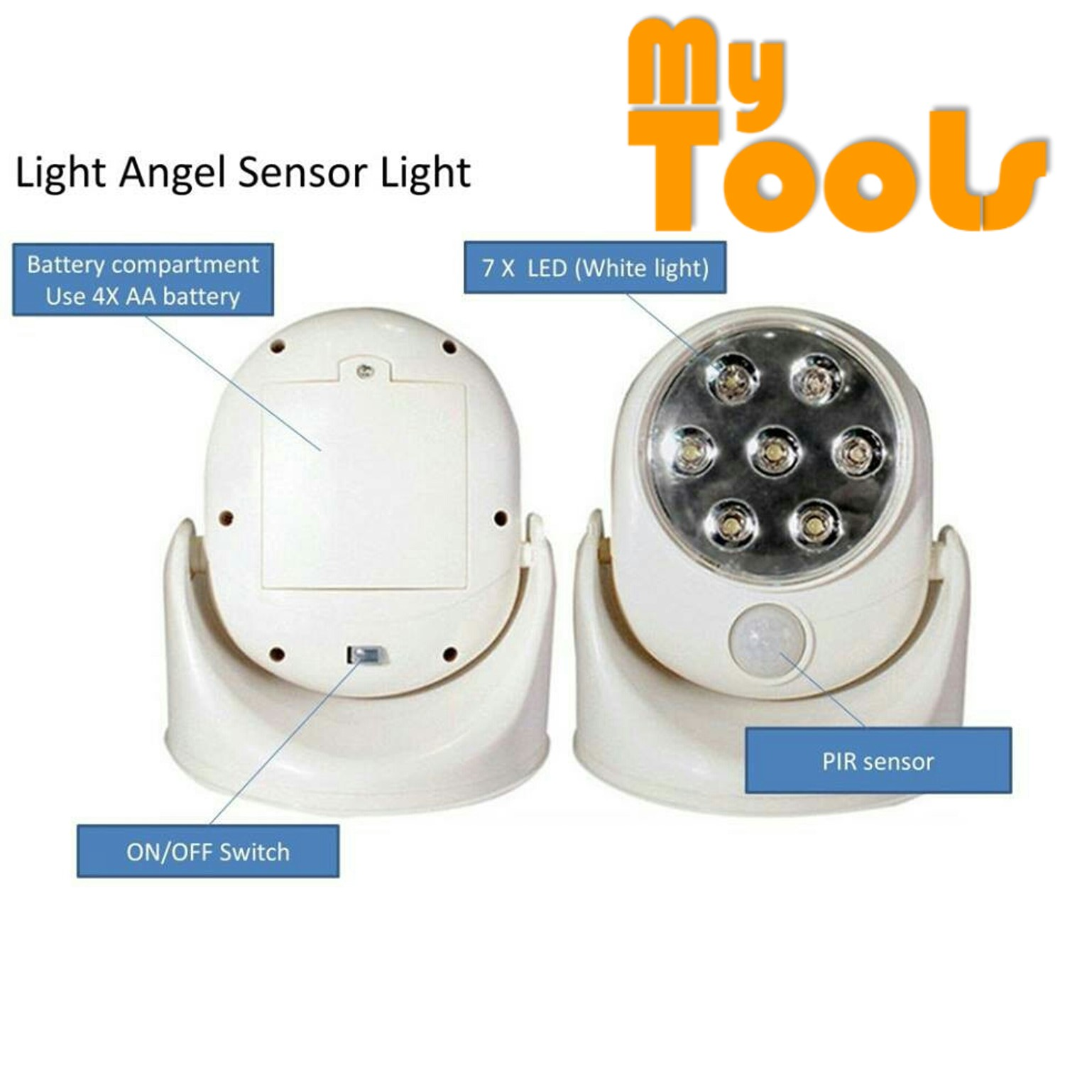 Light Angel Motion Sensor Activated Cordless Wireless Bright 7 LED Indoor Outdoor Night Security Safety Lamp Automatic with 360 Degree Rotation