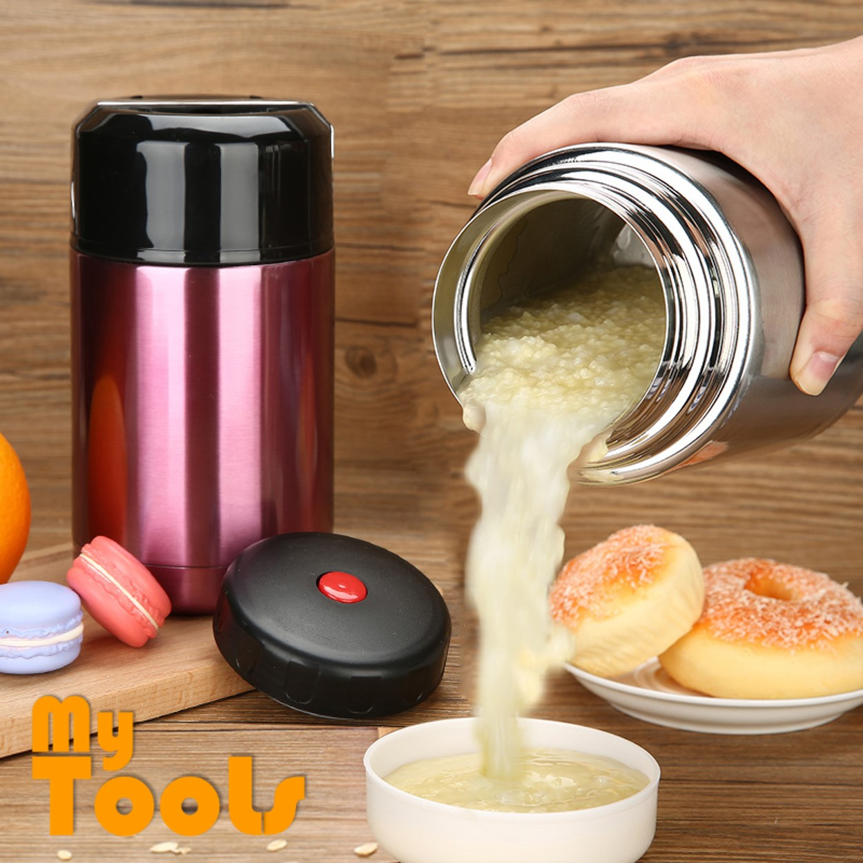 Mytools 1000ml Thermal Vacuum Cooker Pot Insulation Barrels Boxes Portable Lunch Box