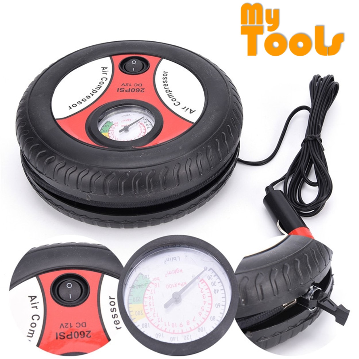 Mytools DC Electric Car Pump Tire Inflator Mini Air Compressor