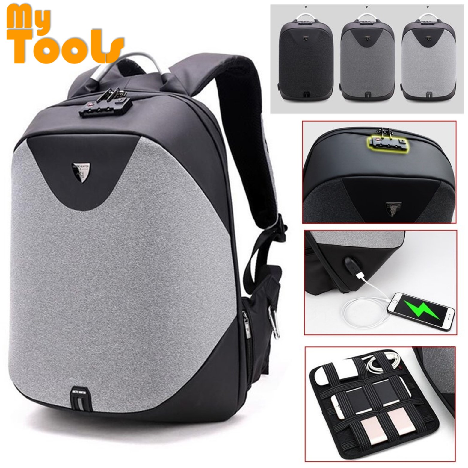 Mytools Anti Theft Backpack Hard Cover Usb Charging Laptop