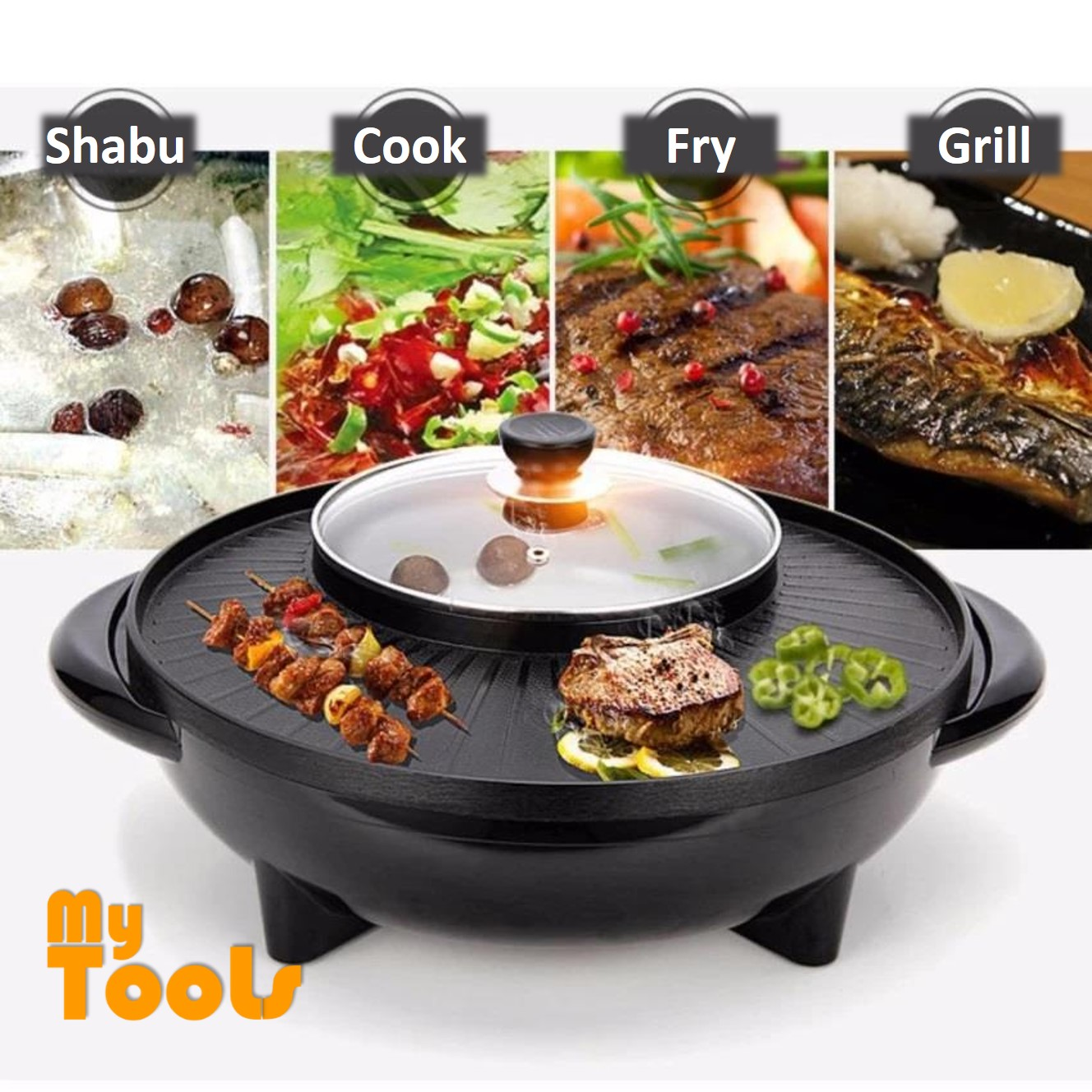 Mytools 2 in 1 Korean BBQ Grill & Steamboat Teppanyaki Hot Pot Shabu Roast Fry