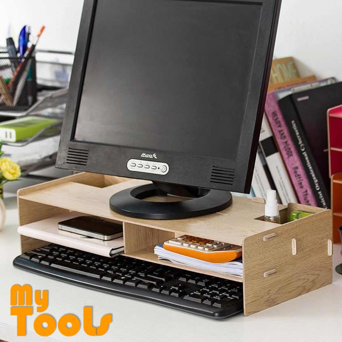 Mytools DIY Wooden Monitor Storage Organizer Rack Computer Table