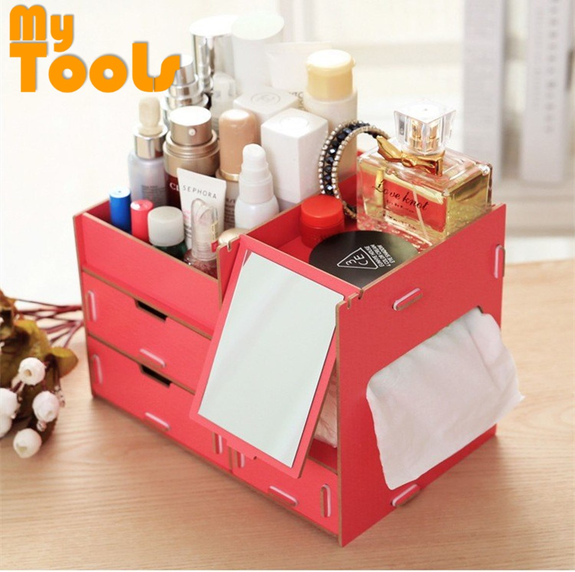 Mytools DIY Wooden Cosmetic Make Up Table Organizer With Mirror and Drawers