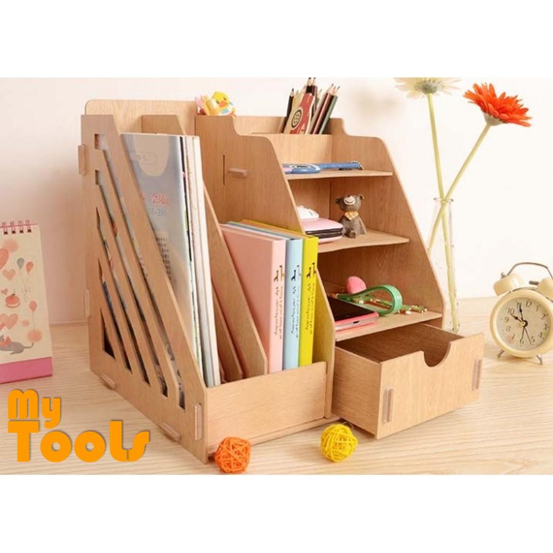 Mytools DIY Wooden Storage Organizer Book Shelf Rack