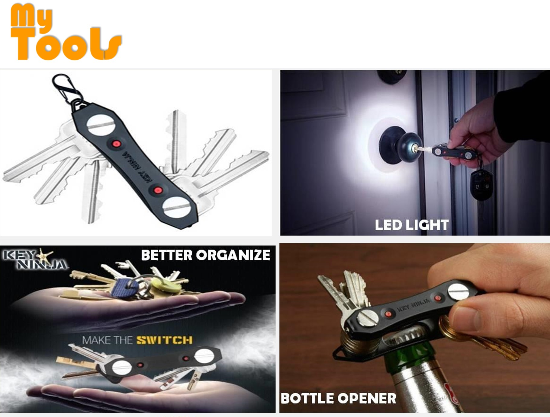 Mytools Key Ninja Organizer Up To 30 Keys With Dual LED Lights & Built in Bottle Opener