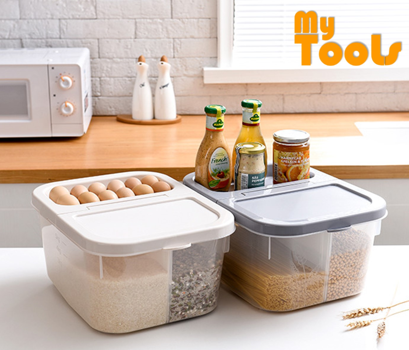 Mytools 12kg Rice Partition Food Storage Box Kitchen Storage Container With Wheels