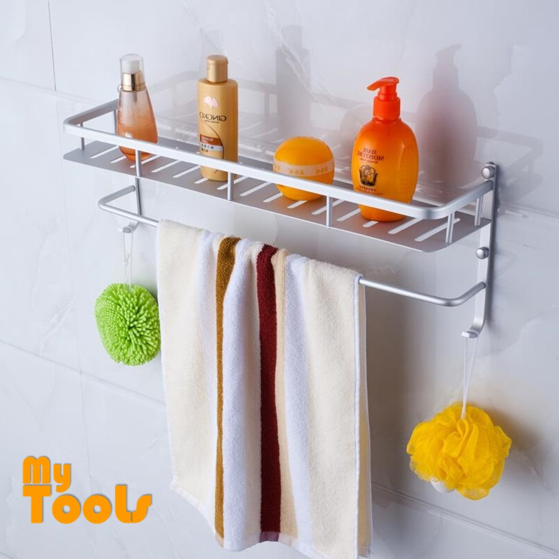Mytools 60cm Premium Aluminium Bathroom Towel Rack Organizer Storage Hanger Shelf Holder Stand with Hooks