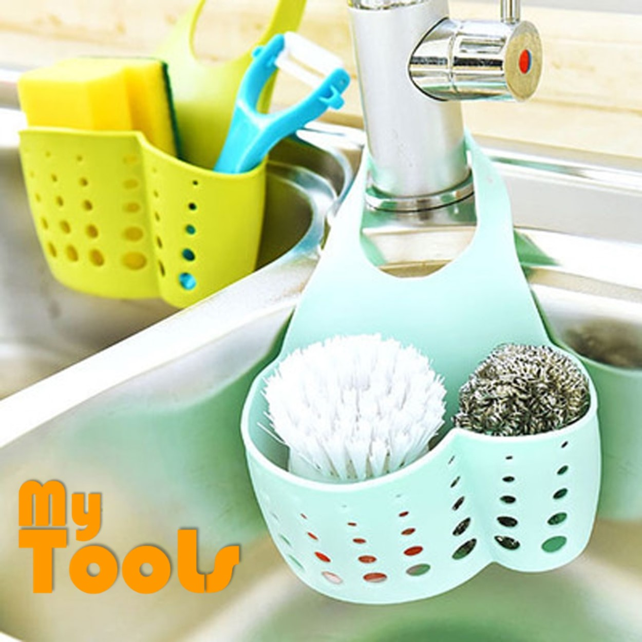 Mytools Kitchen Organizer Sink Hanging Caddy Basket Buckle Water Tap Collect Hanging Bag