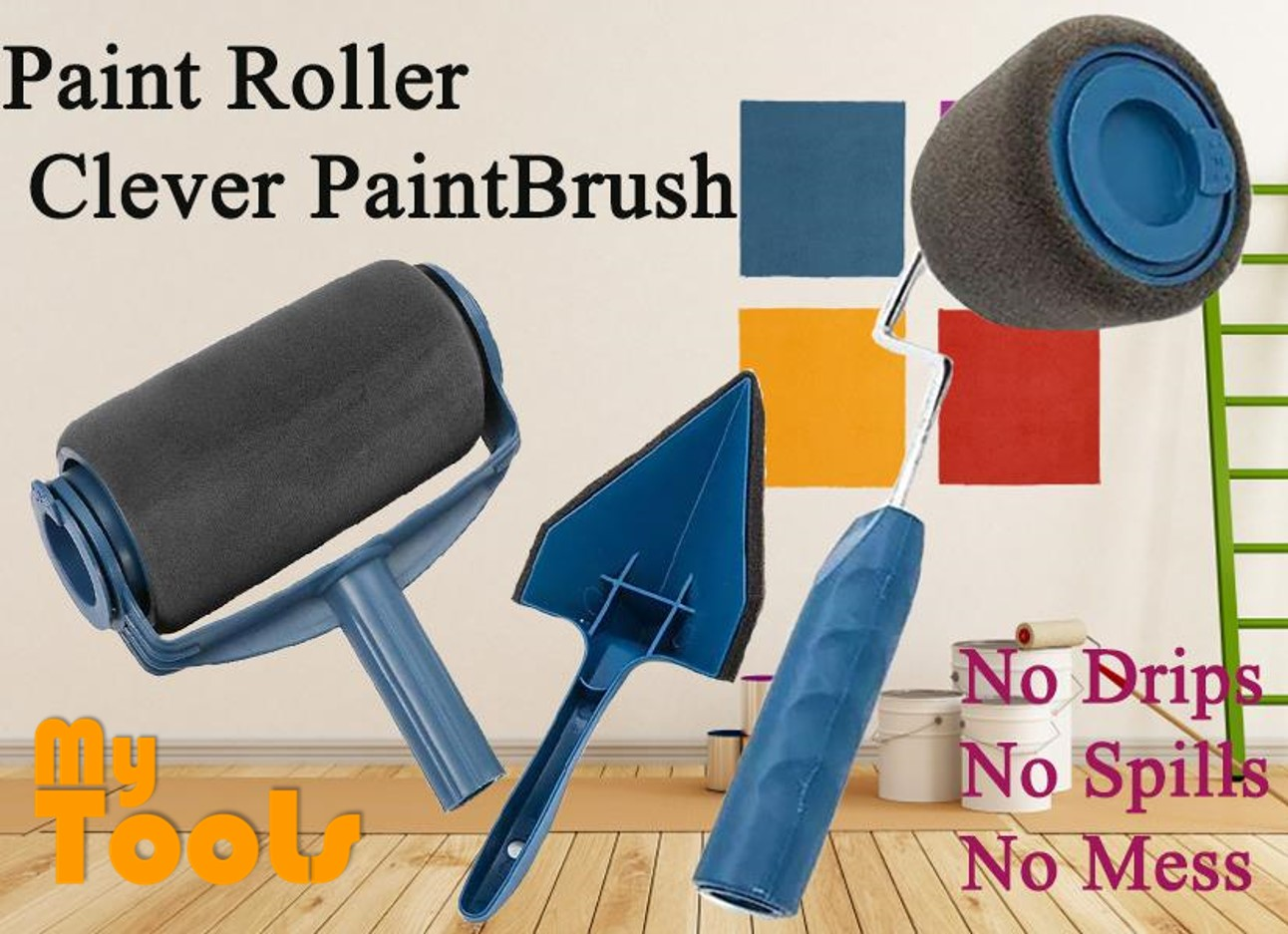 Mytools Paint Roller Clever Paintbrush Runner Pro Brush Set Flocked Edger Wall Painting Kit