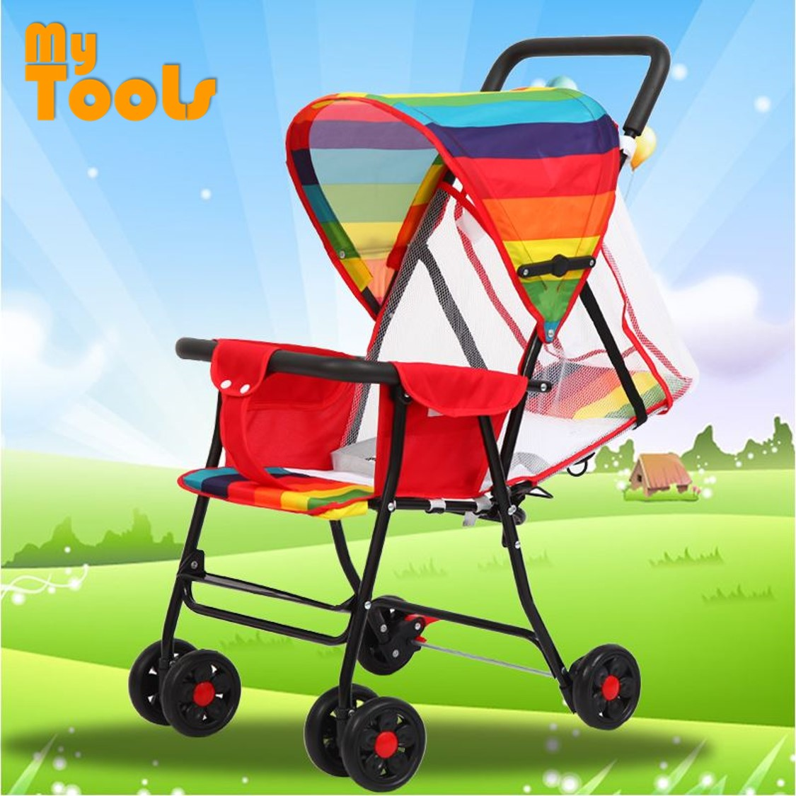 Mytools Easy Fold Light Weight Baby Stroller Rainbow 95~175 Laying Degree Brake Prams