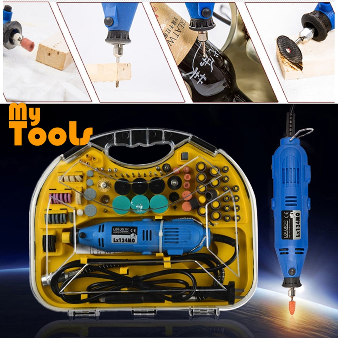 Mytools 211pcs Rotary Tool Mini Drill set Grinder Engraver Sander Polisher Cutting Craft
