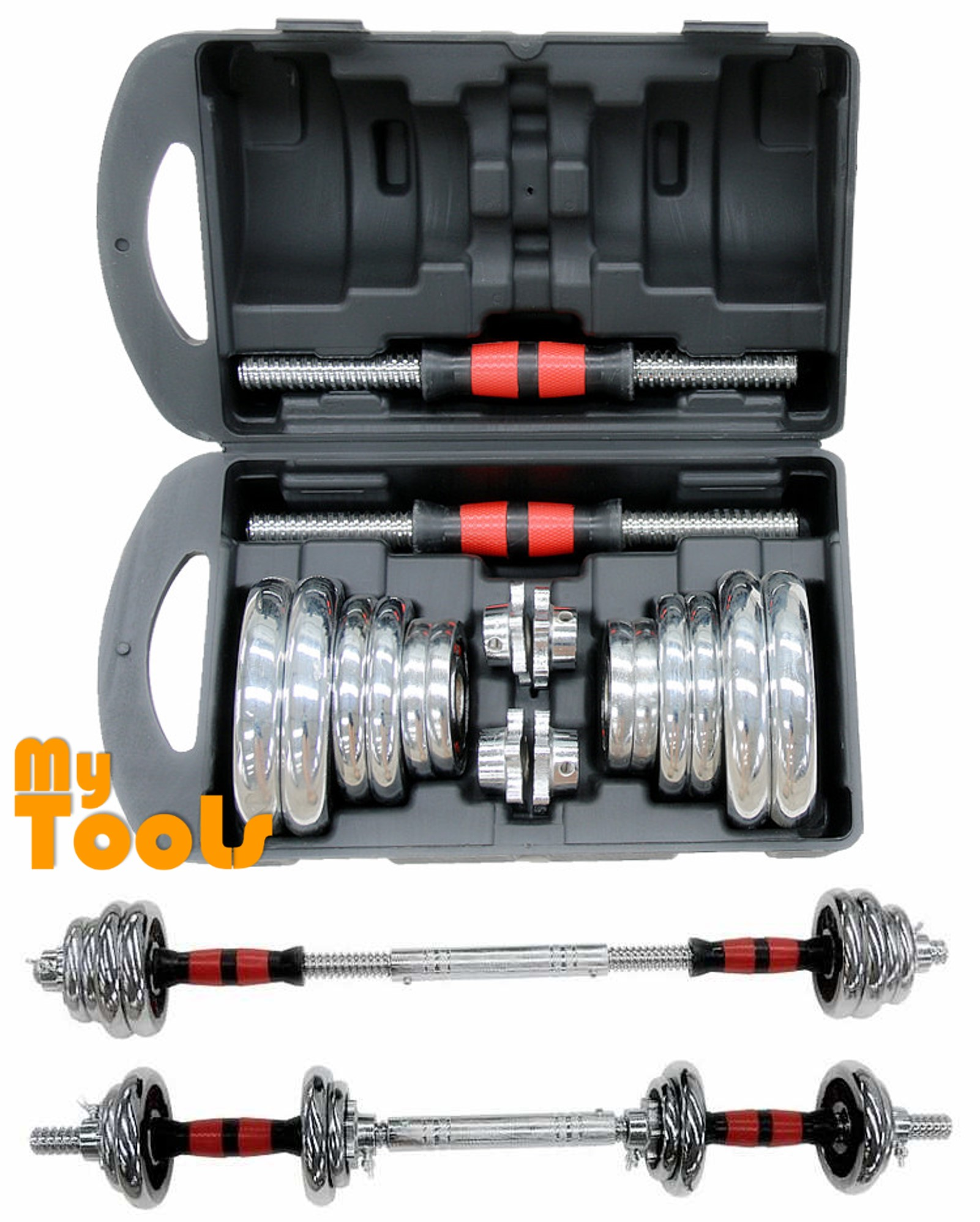 Mytools 20kg Chrome Adjustable Dumbbell With Soft Grip Handle Set [FOC: 30CM Barbell Connector]