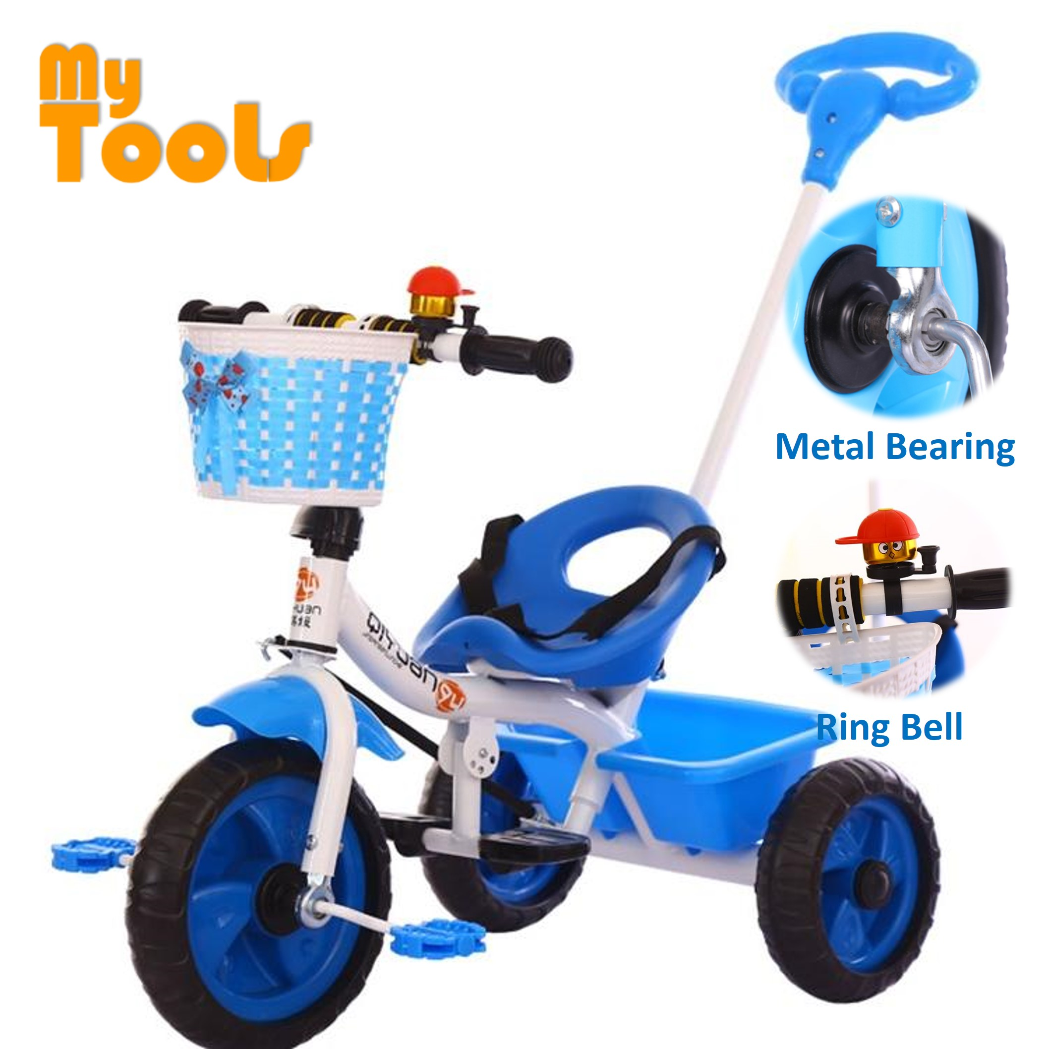 Mytools Premium Kids Hand Push Tricycle Baby Walker Bicycle Ride On Bikes (Blue)