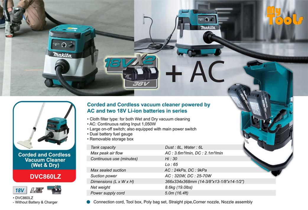 MAKITA DVC860LZ CORDED & CORDLESS VACUUM CLEANER (WET&DRY) (LXT SERIES) (Without battery and