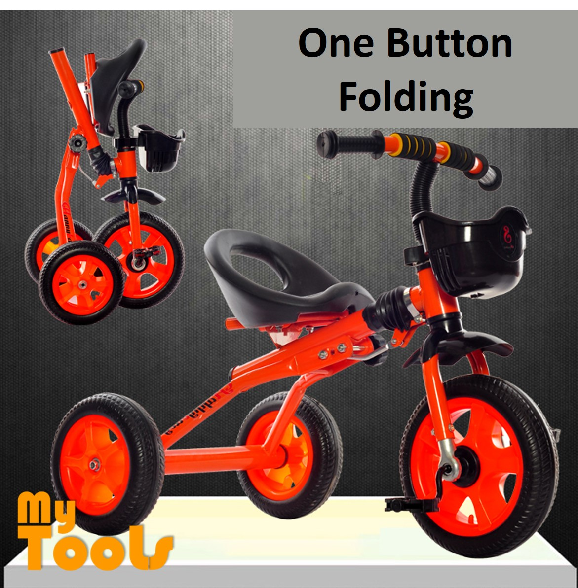 Mytools Foldable Folding Tricycle Baby Walker Bicycle Children Outdoor Toys Bicycles Ride On Bikes W Metal Bearing
